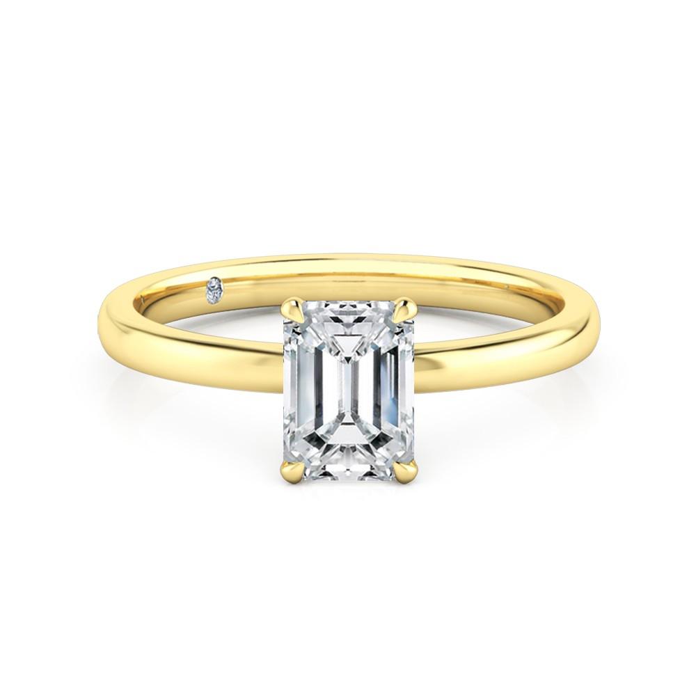 Susanna Emerald Cut Diamond Engagement Ring 18k Yellow Gold