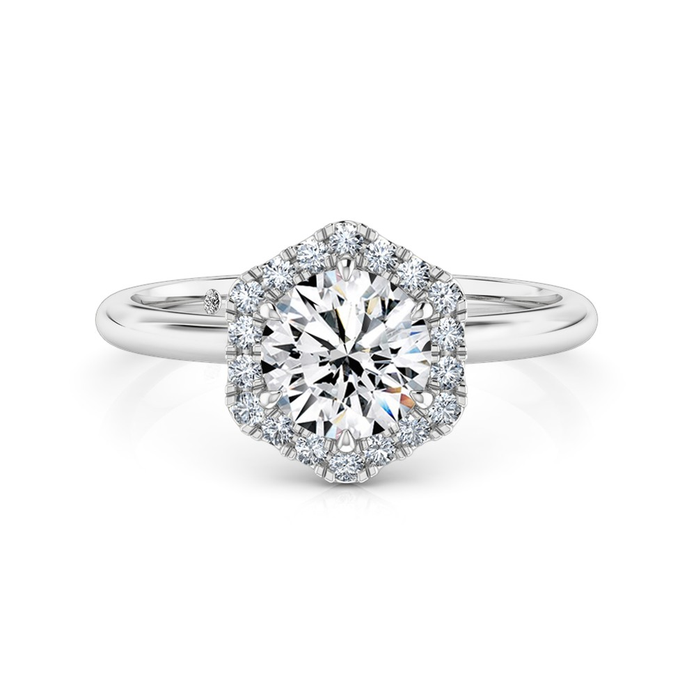Round Cut Halo Diamond Engagement Ring Platinum