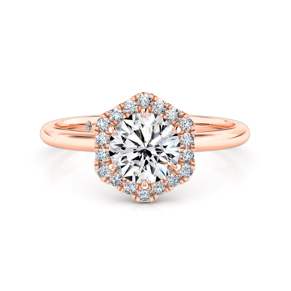 Round Cut Halo Diamond Engagement Ring 18K Rose Gold