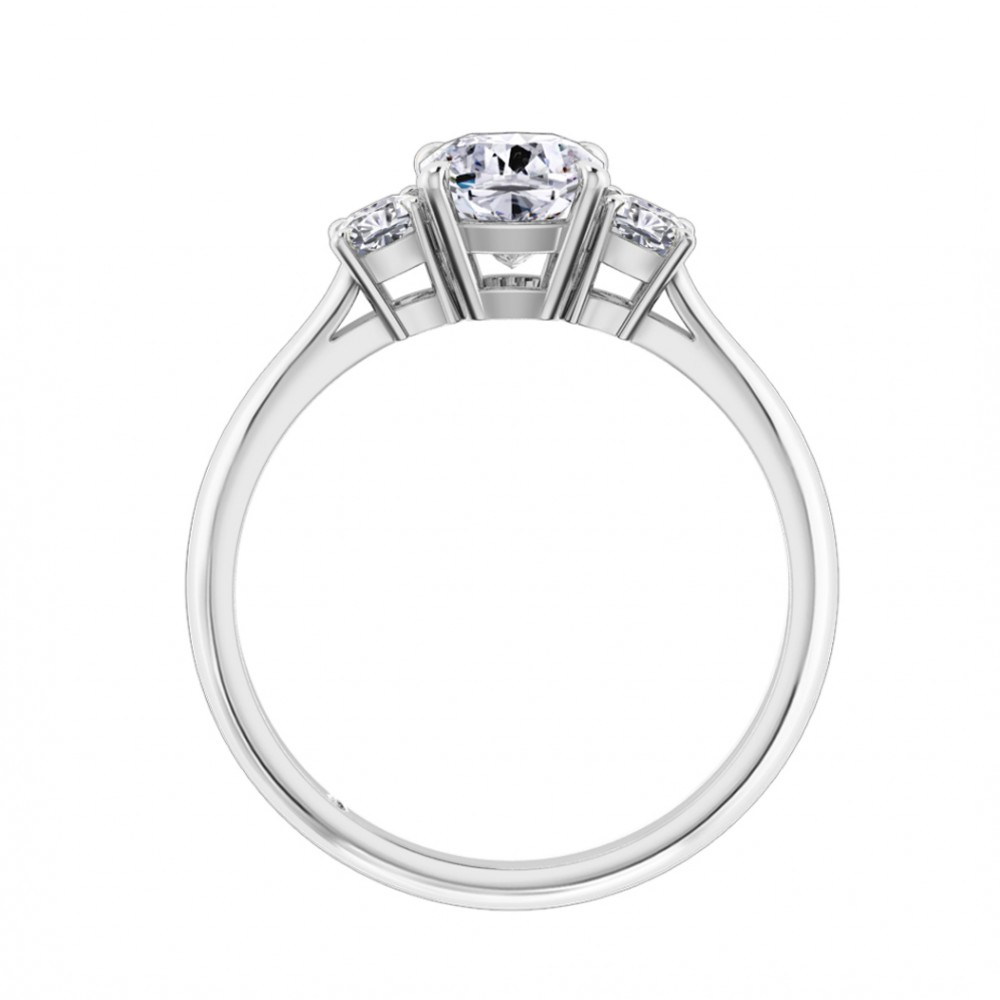 Cushion Cut Trilogy Diamond Engagement Ring Platinum