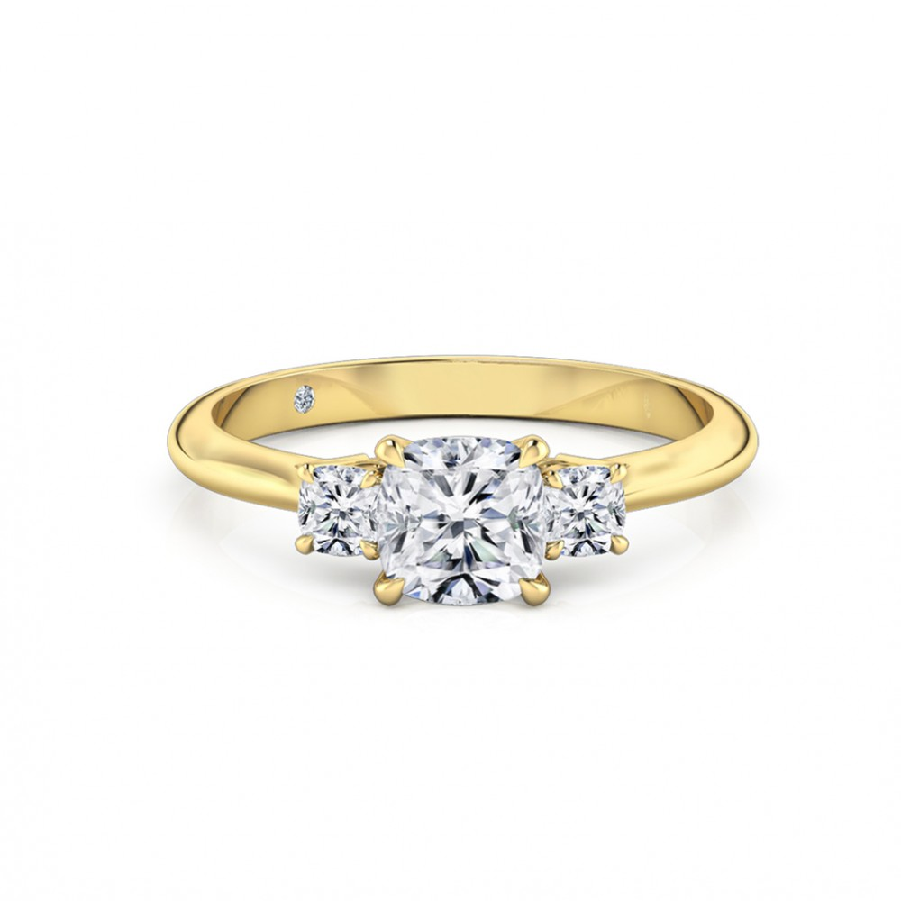 Cushion Cut Trilogy Diamond Engagement Ring 18K Yellow Gold