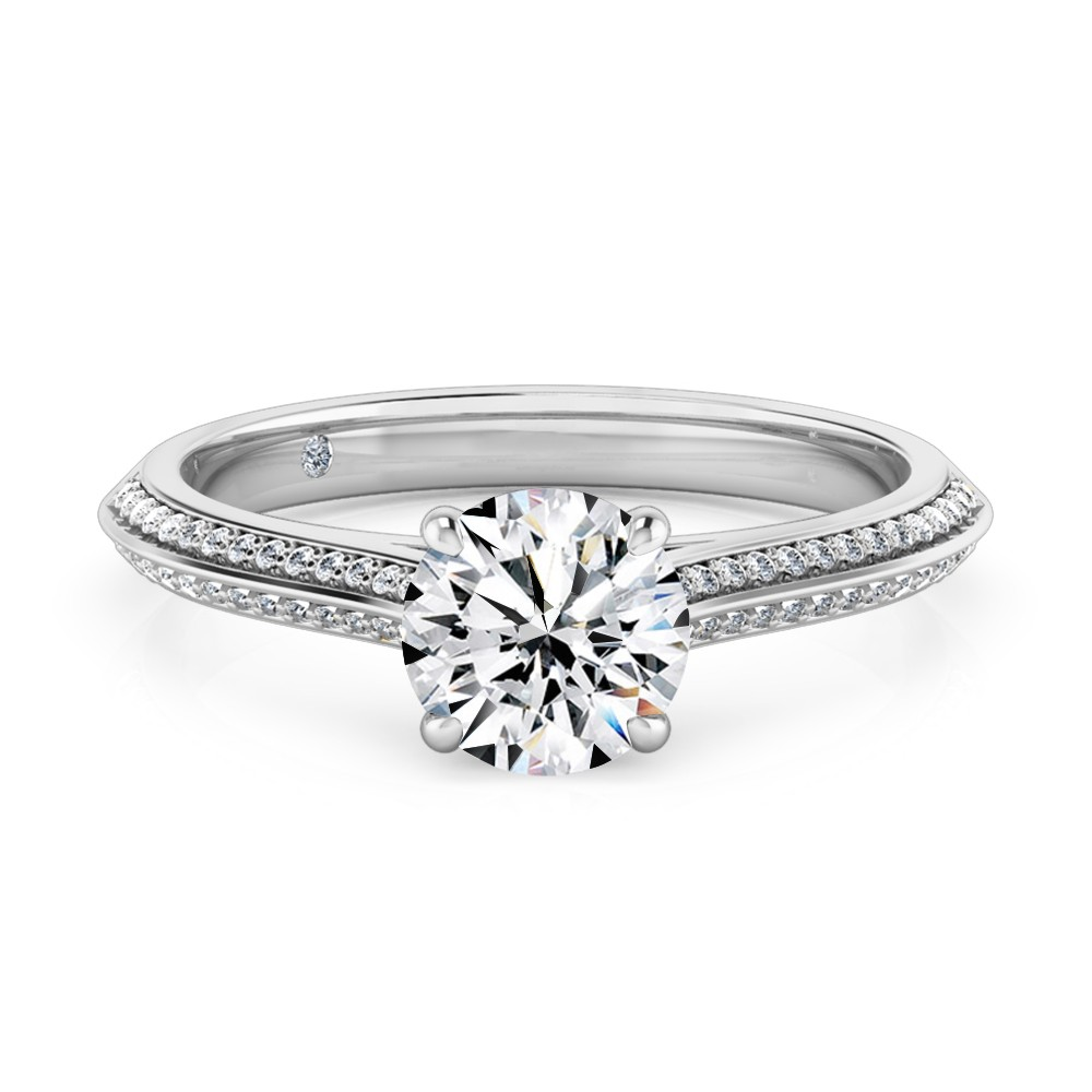 Round Cut Diamond Band Diamond Engagement Ring 18K White Gold