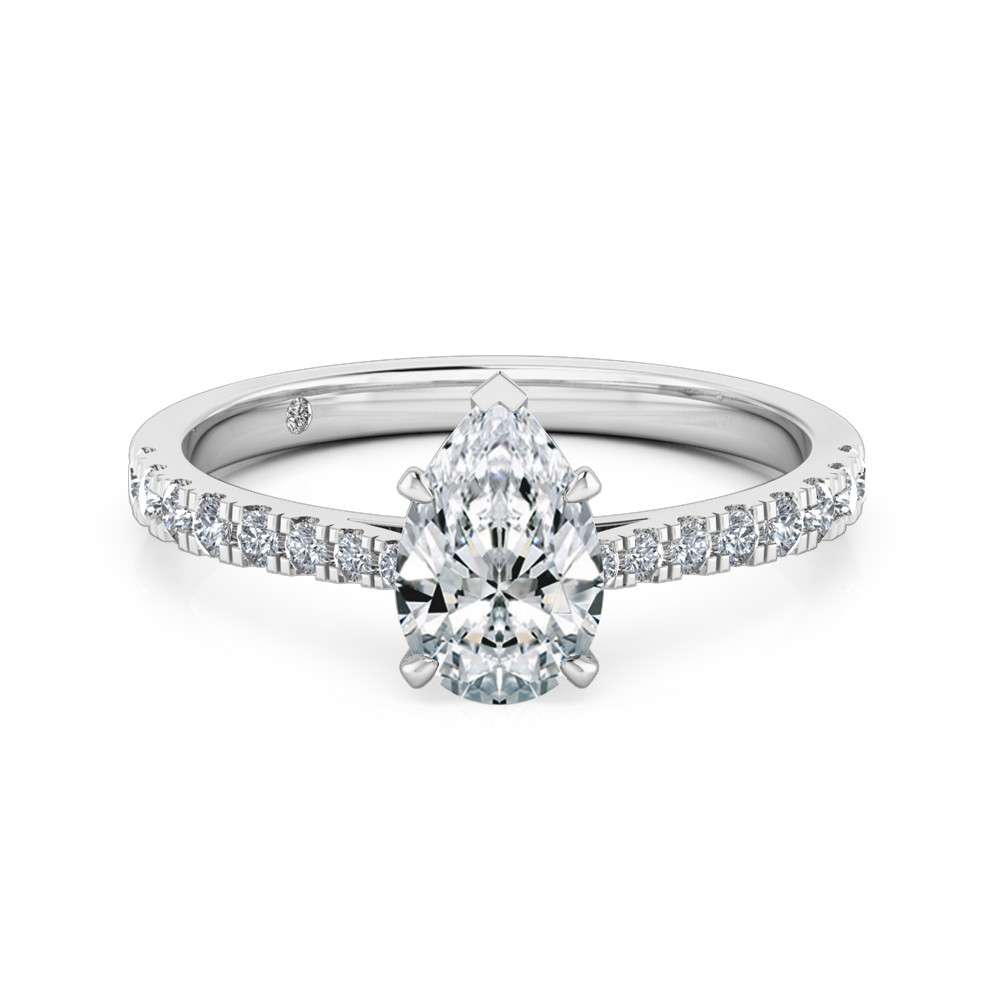 Pear Cut Diamond Band Diamond Engagement Ring 18K White Gold