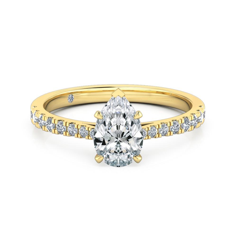 Pear Cut Diamond Band Diamond Engagement Ring 18K Yellow Gold