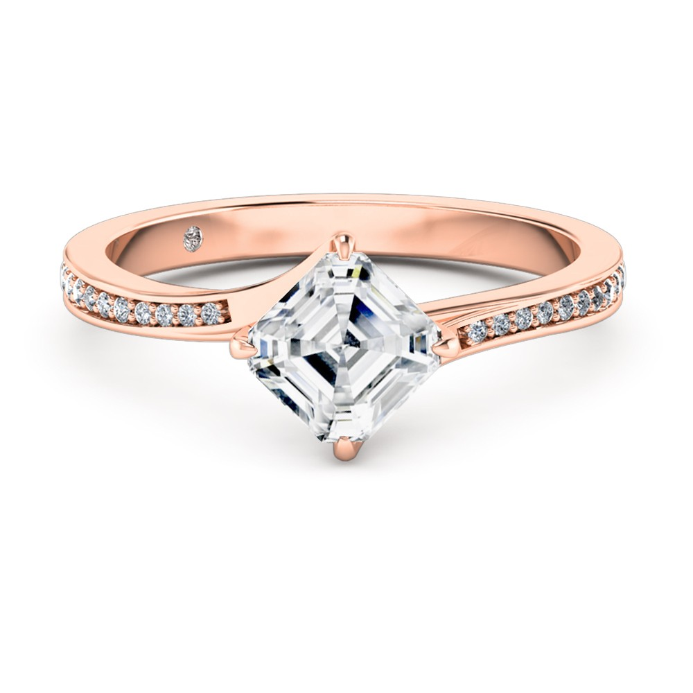 Asscher Cut Diamond Band Diamond Engagement Ring 18K Rose Gold