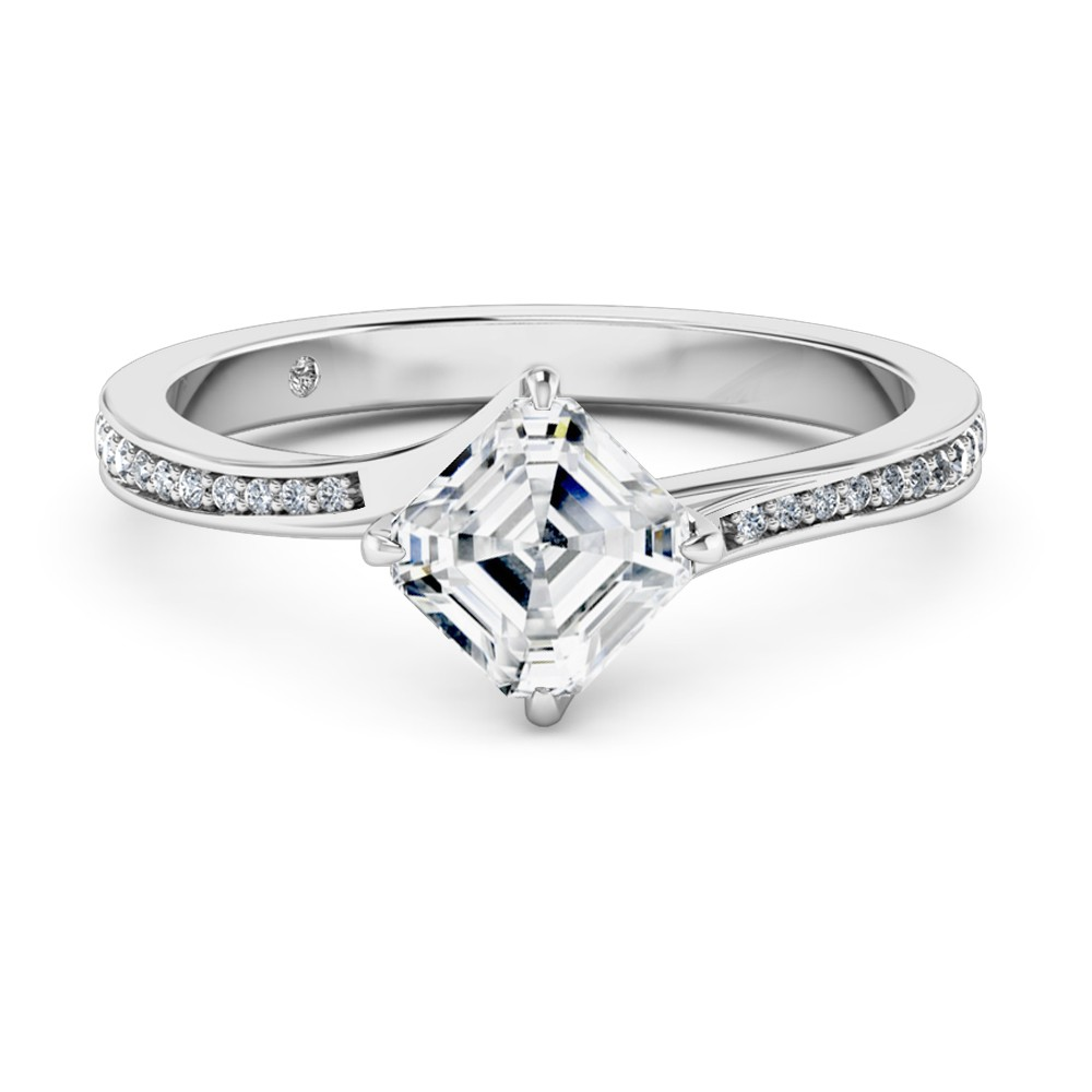Asscher Cut Diamond Band Diamond Engagement Ring 18K White Gold
