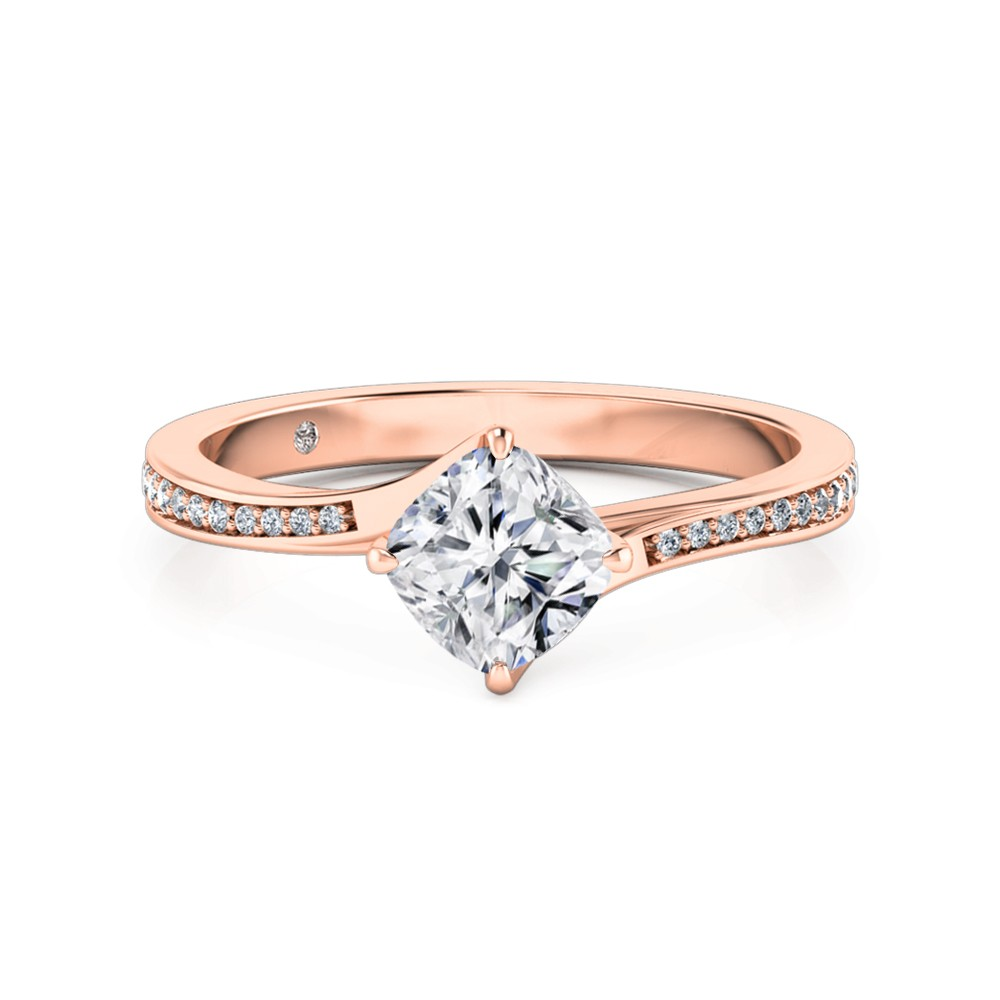 Cushion Cut Diamond Band Diamond Engagement Ring 18K Rose Gold