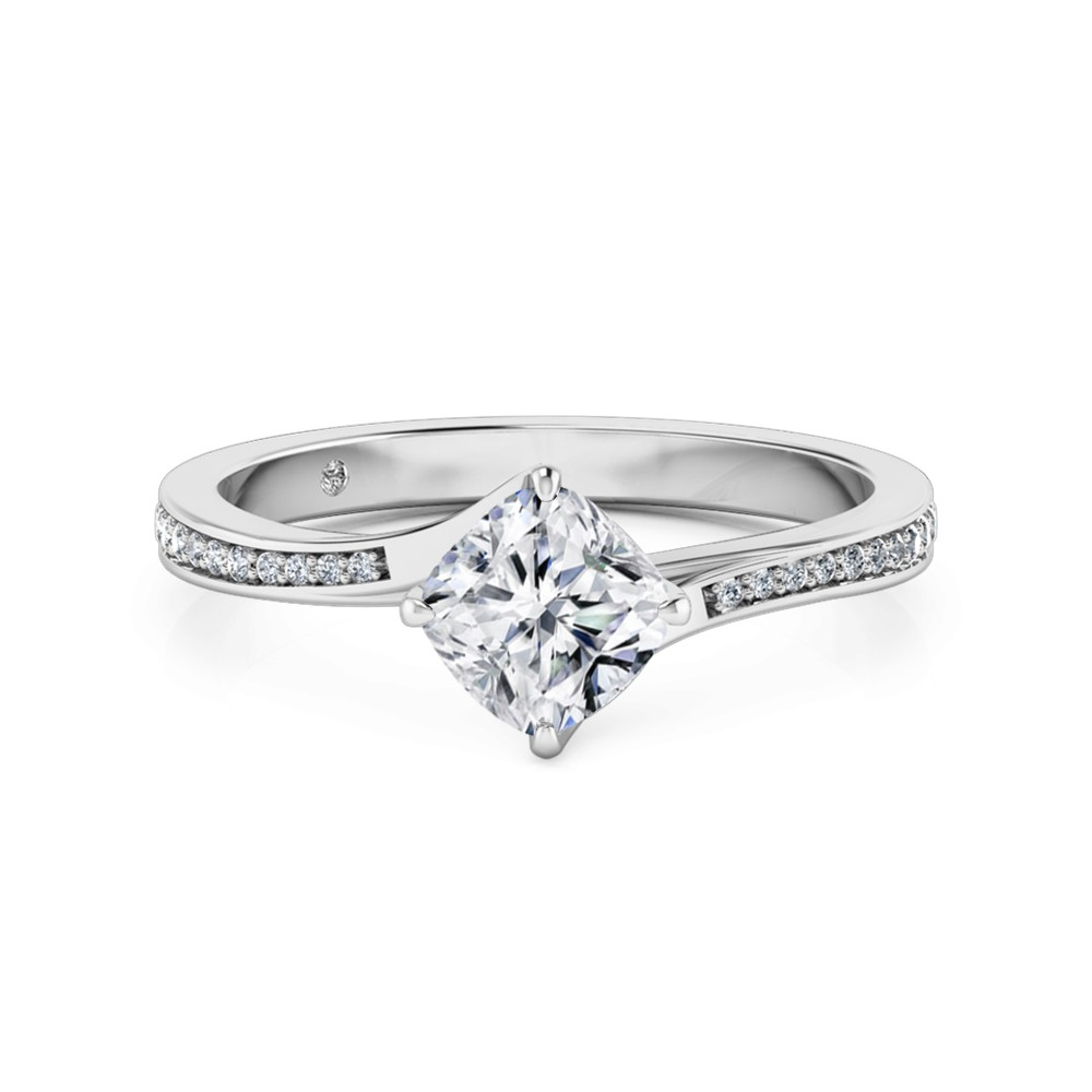 Cushion Cut Diamond Band Diamond Engagement Ring 18K White Gold