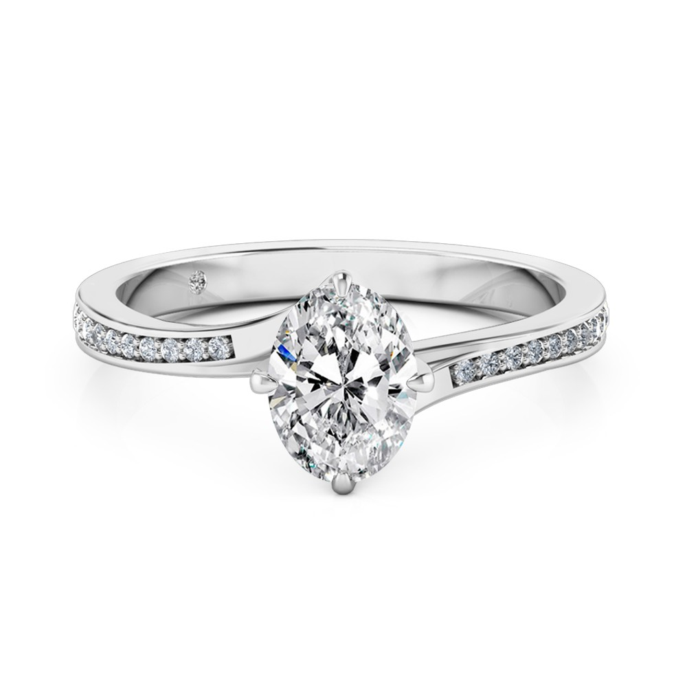 Oval Cut Diamond Band Diamond Engagement Ring 18K White Gold