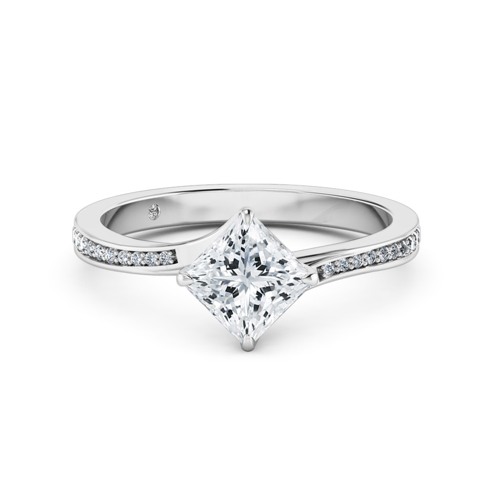 Princess Cut Diamond Band Diamond Engagement Ring Platinum