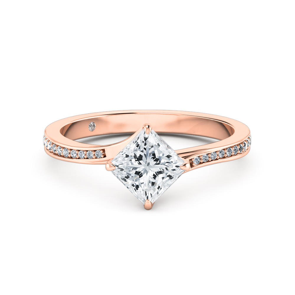 Princess Cut Diamond Band Diamond Engagement Ring 18K Rose Gold