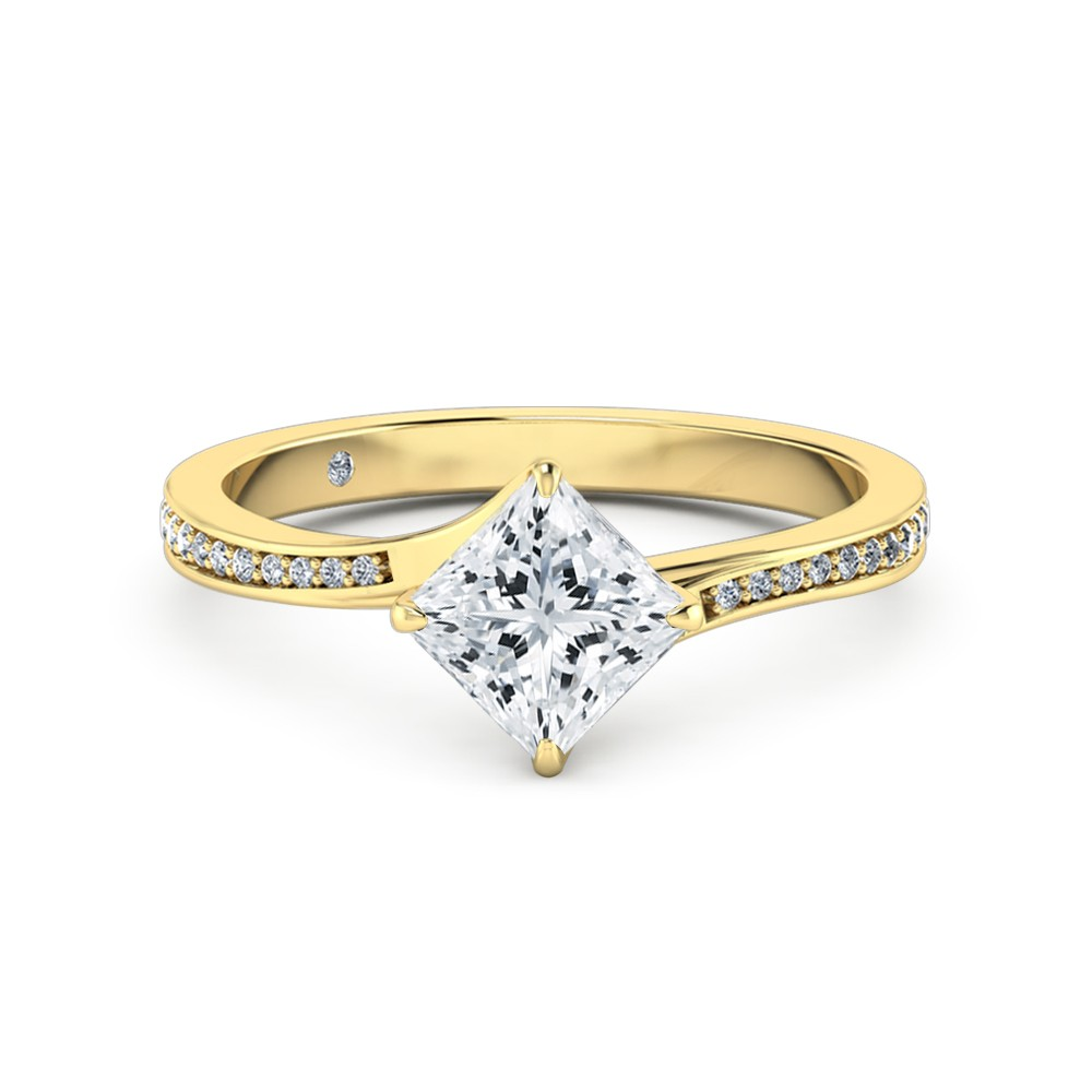 Princess Cut Diamond Band Diamond Engagement Ring 18K Yellow Gold