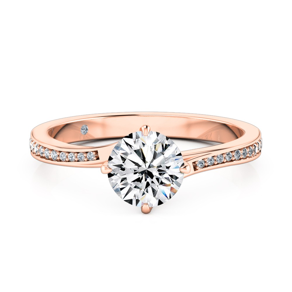 Round Cut Diamond Band Diamond Engagement Ring 18K Rose Gold