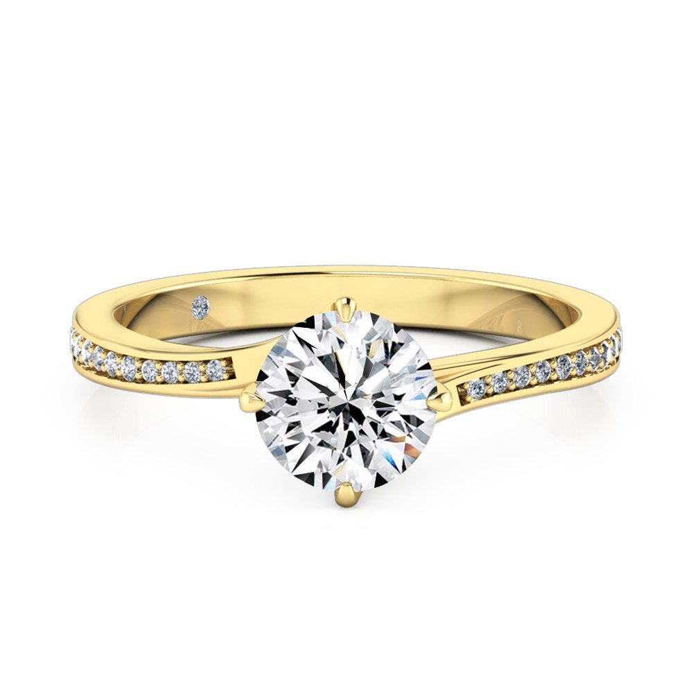 Round Cut Diamond Band Diamond Engagement Ring 18K Yellow Gold