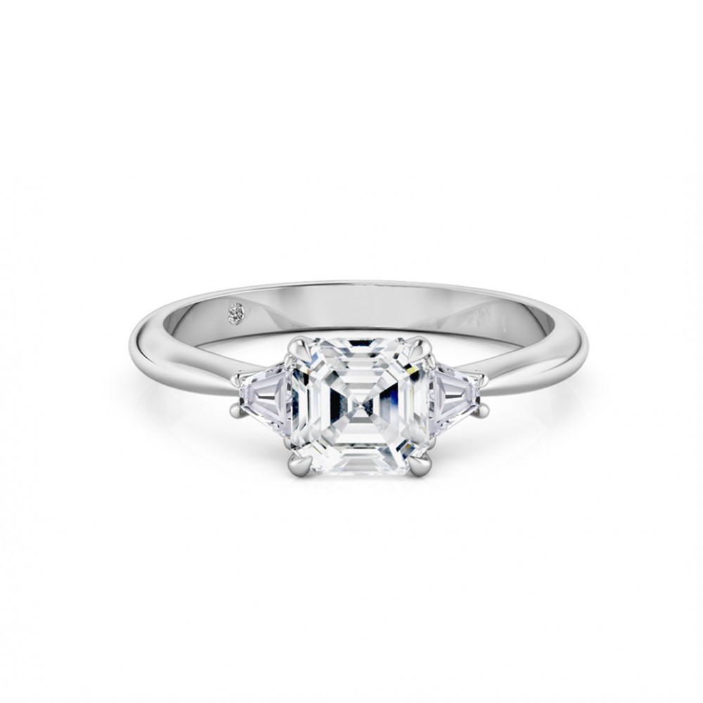 Asscher Cut Trilogy Diamond Engagement Ring 18K White Gold