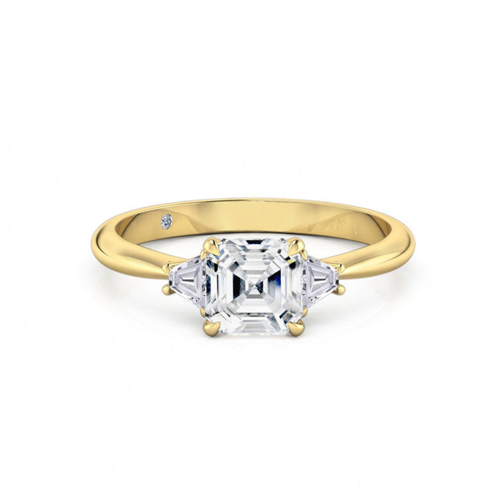 Asscher Cut Trilogy Diamond Engagement Ring 18K Yellow Gold