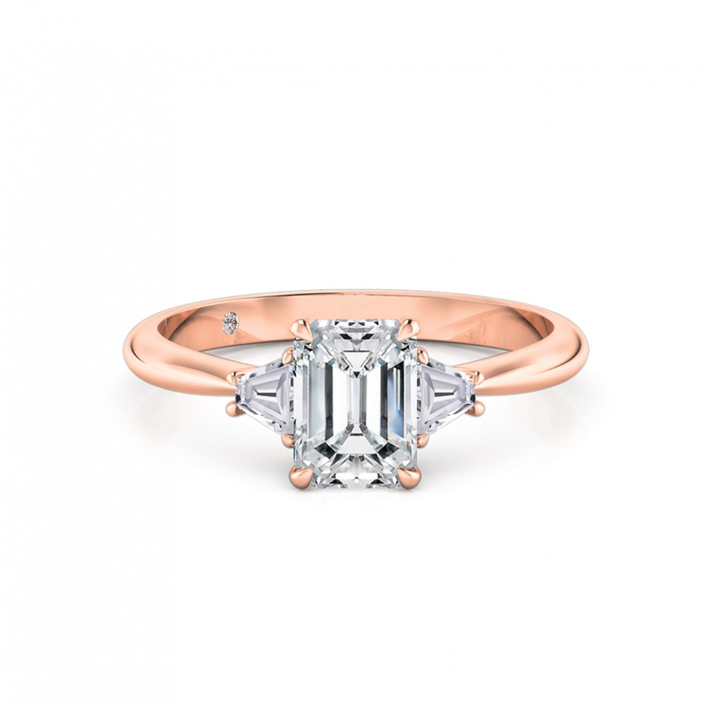 Emerald Cut Trilogy Diamond Engagement Ring 18K Rose Gold