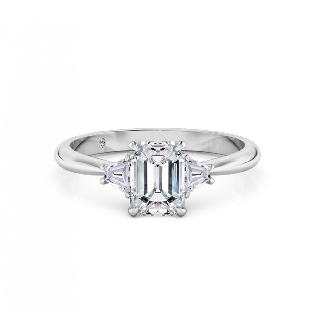 Emerald Cut Trilogy Diamond Engagement Ring 18K White Gold
