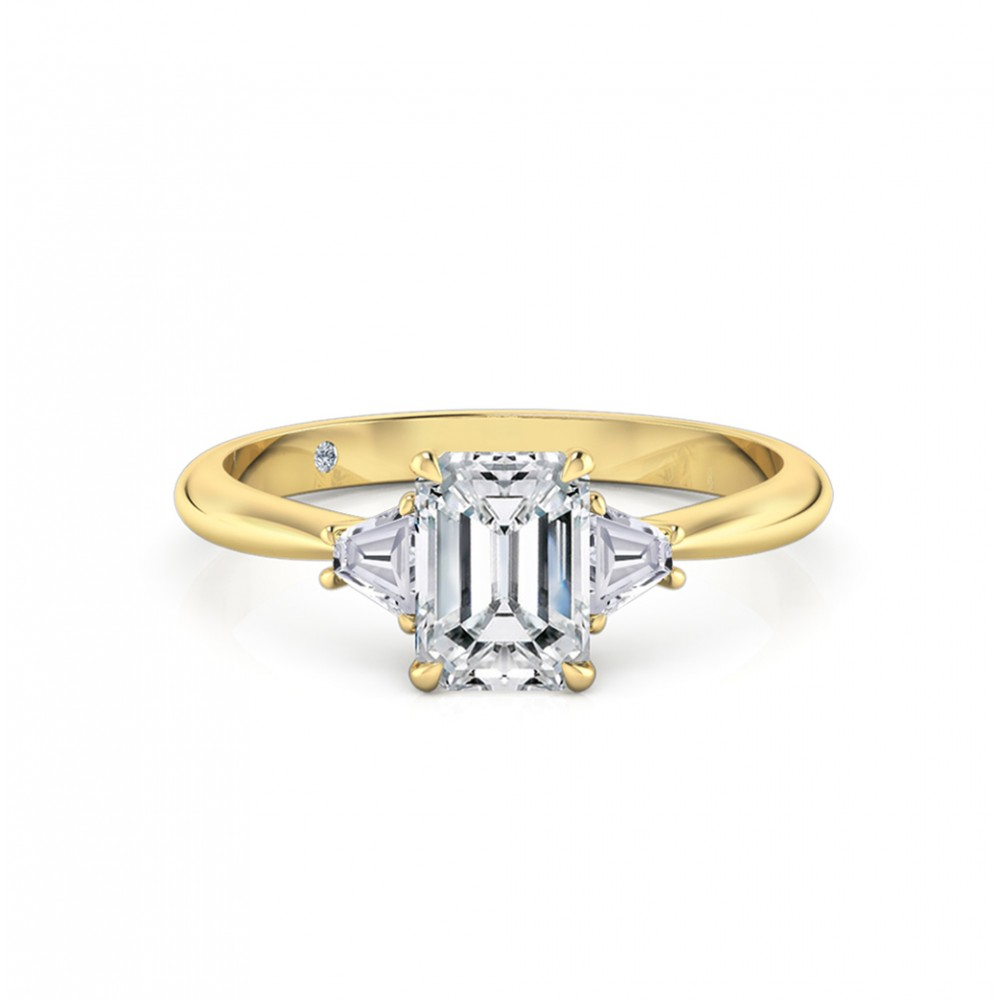 Emerald Cut Trilogy Diamond Engagement Ring 18K Yellow Gold