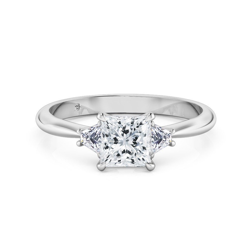 Princess Cut Trilogy Diamond Engagement Ring Platinum