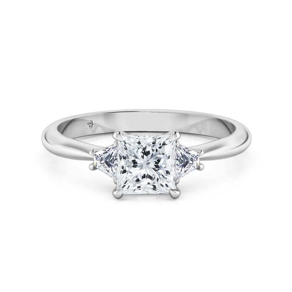 Princess Cut Trilogy Diamond Engagement Ring 18K White Gold