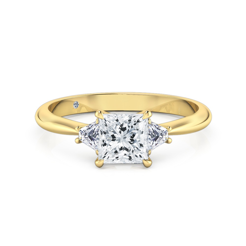 Princess Cut Trilogy Diamond Engagement Ring 18K Yellow Gold
