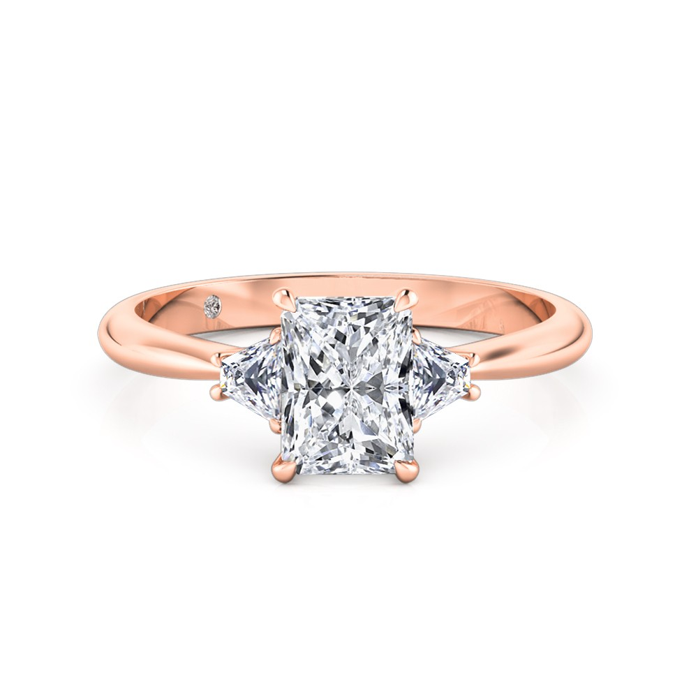 Radiant Cut Trilogy Diamond Engagement Ring 18K Rose Gold