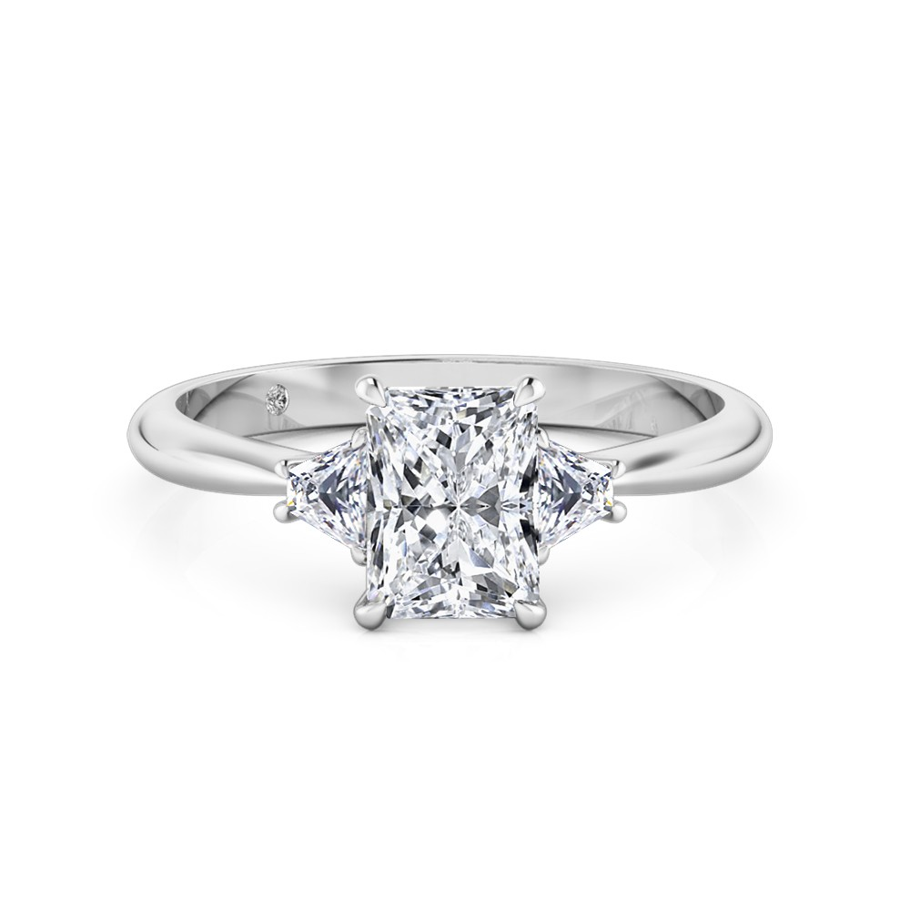 Radiant Cut Trilogy Diamond Engagement Ring 18K White Gold