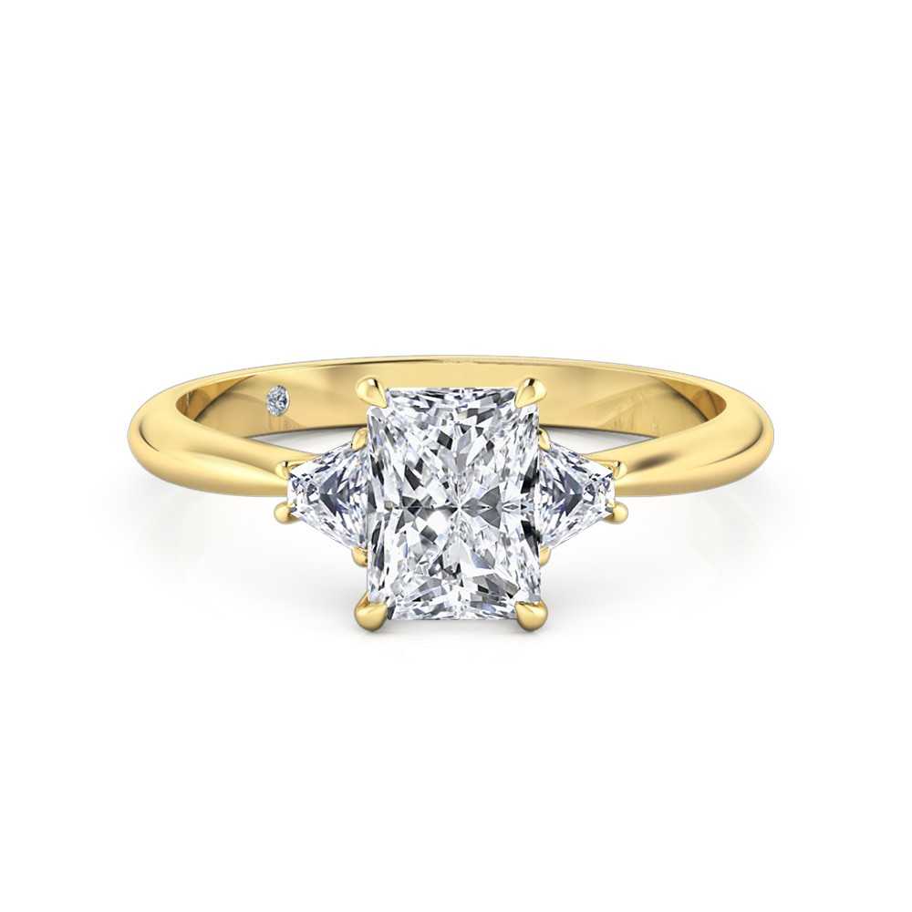 Radiant Cut Trilogy Diamond Engagement Ring 18K Yellow Gold