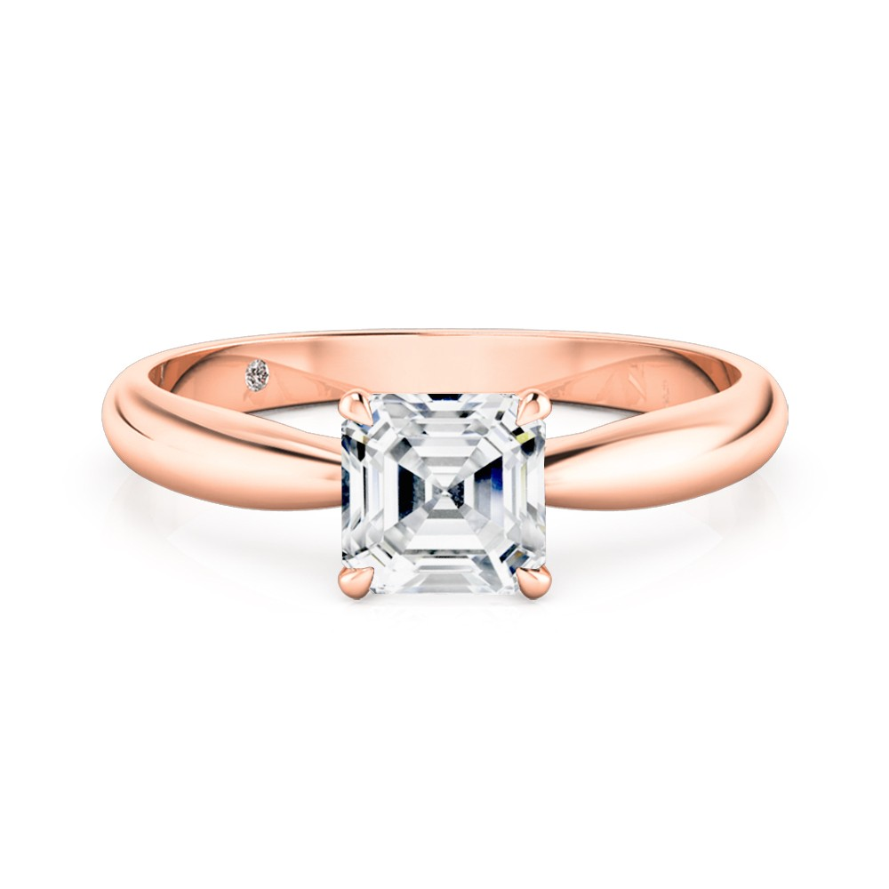 Asscher Cut Solitaire Diamond Engagement Ring 18K Rose Gold