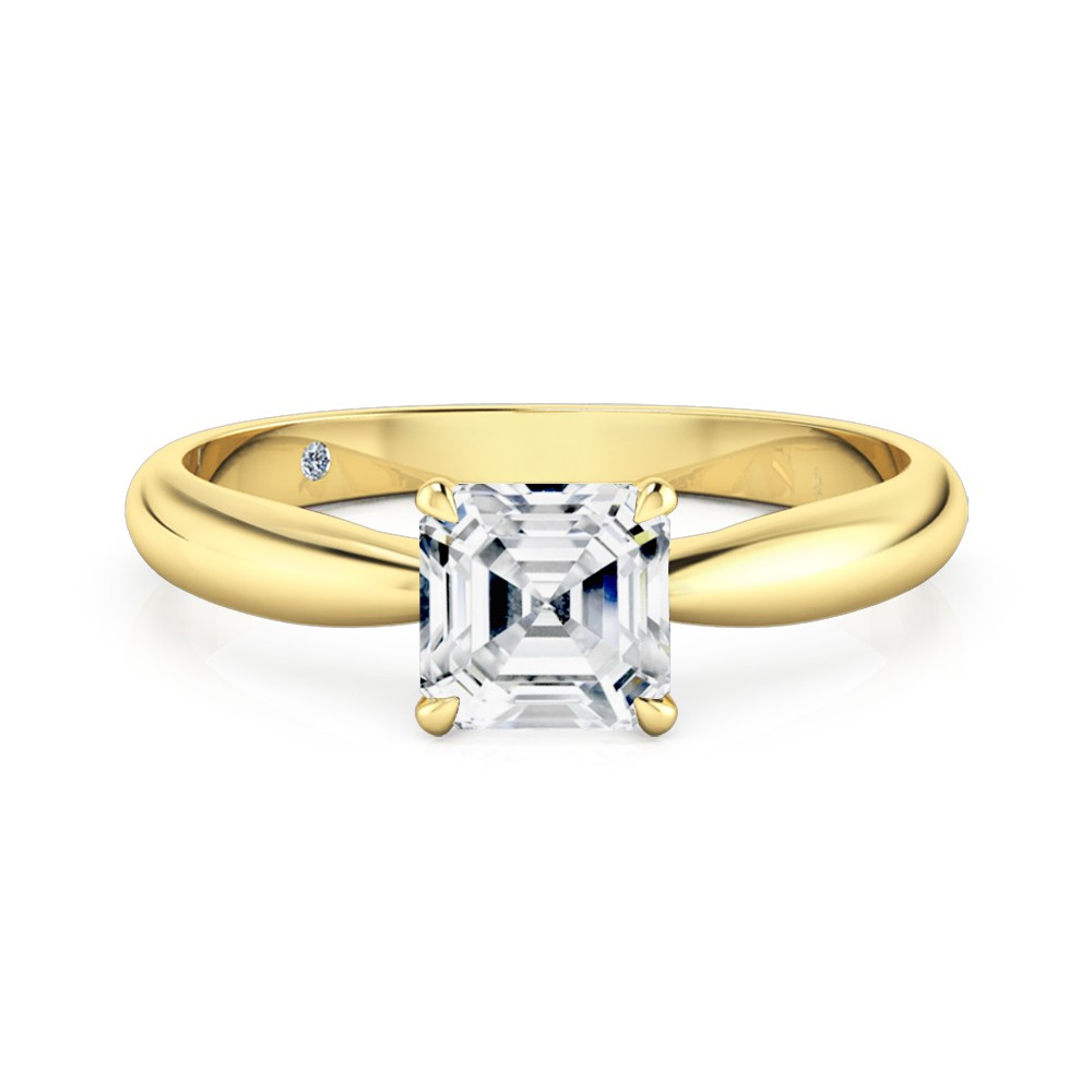 Asscher Cut Solitaire Diamond Engagement Ring 18K Yellow Gold