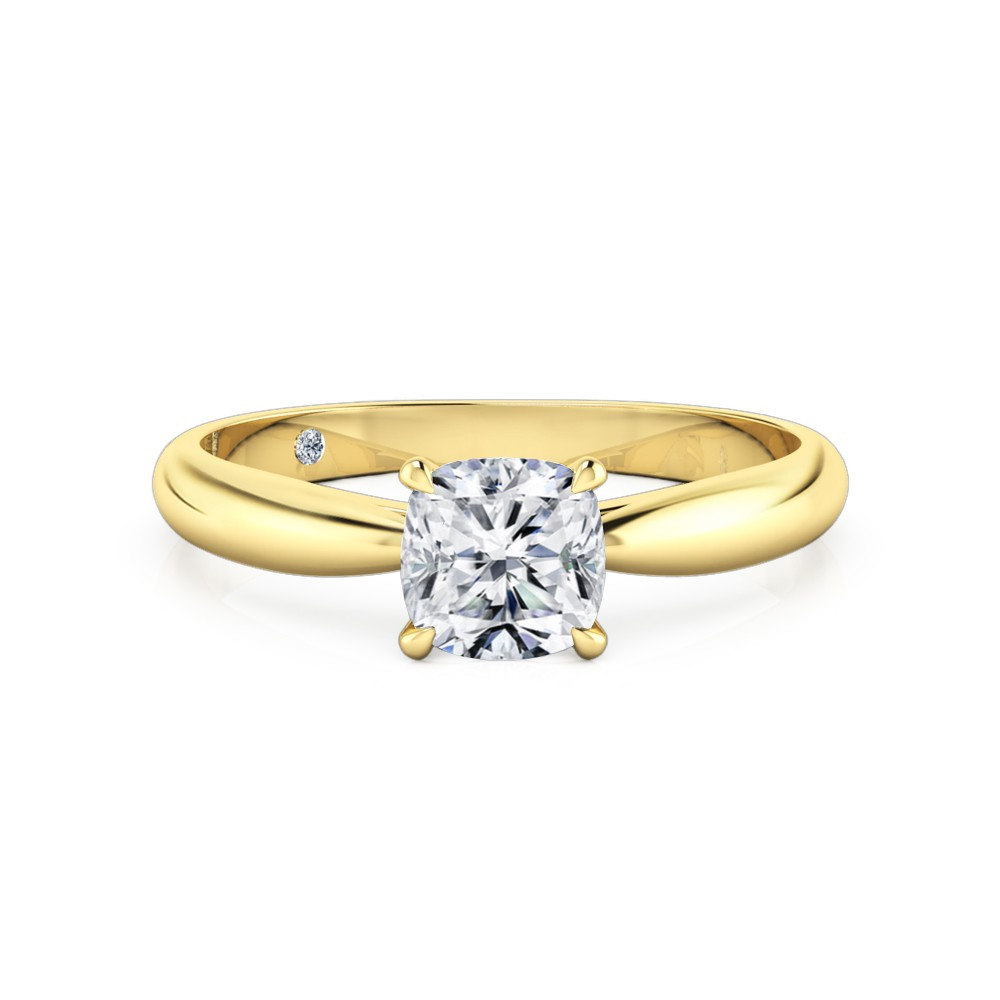 Cushion Cut Solitaire Diamond Engagement Ring 18K Yellow Gold