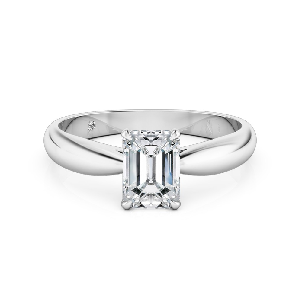 Emerald Cut Solitaire Diamond Engagement Ring Platinum