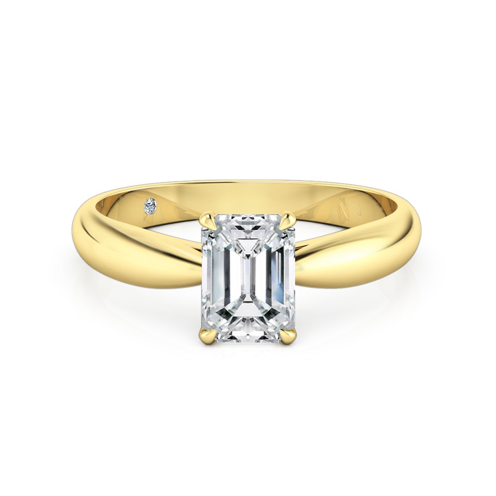 Emerald Cut Solitaire Diamond Engagement Ring 18K Yellow Gold