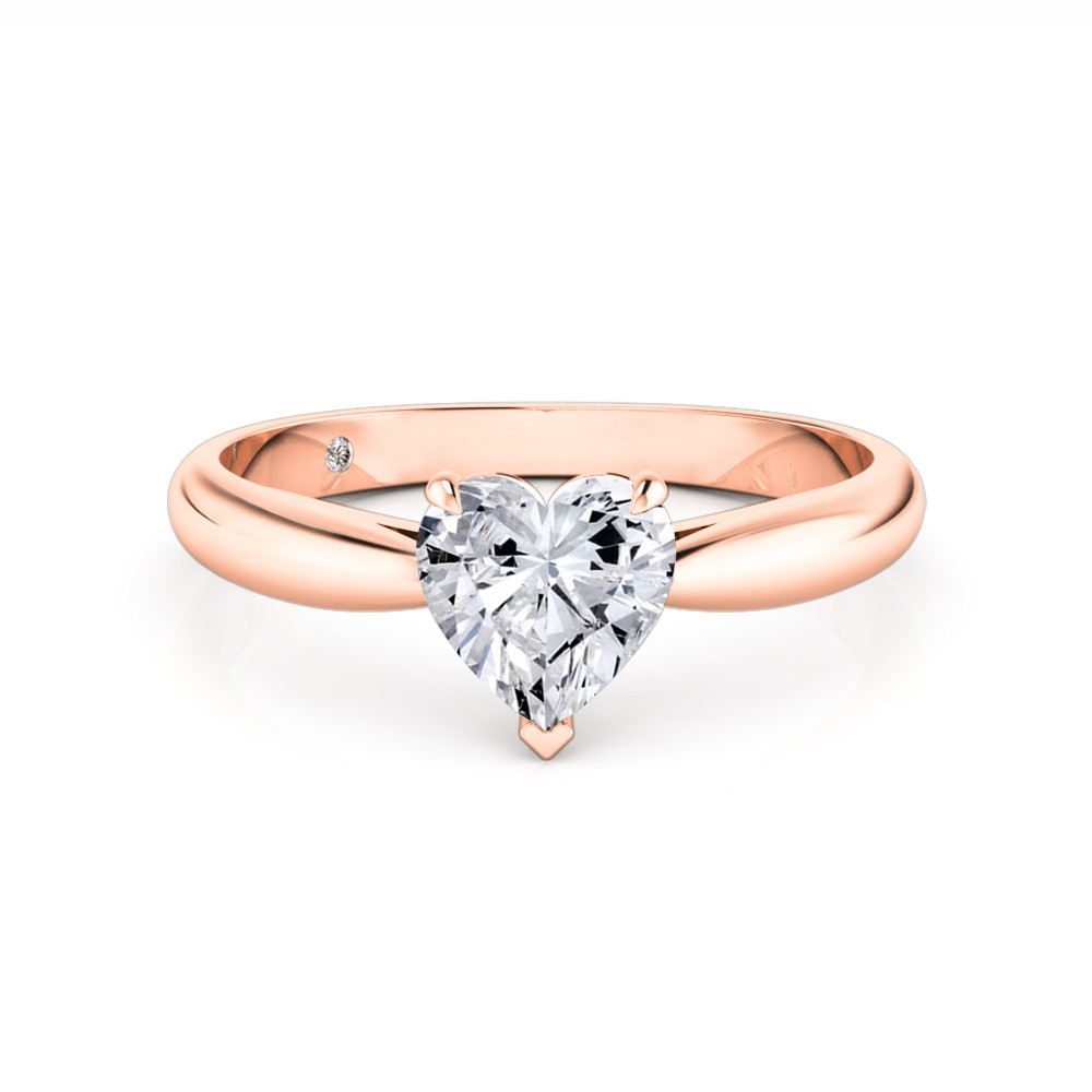 Heart Cut Solitaire Diamond Engagement Ring 18K Rose Gold