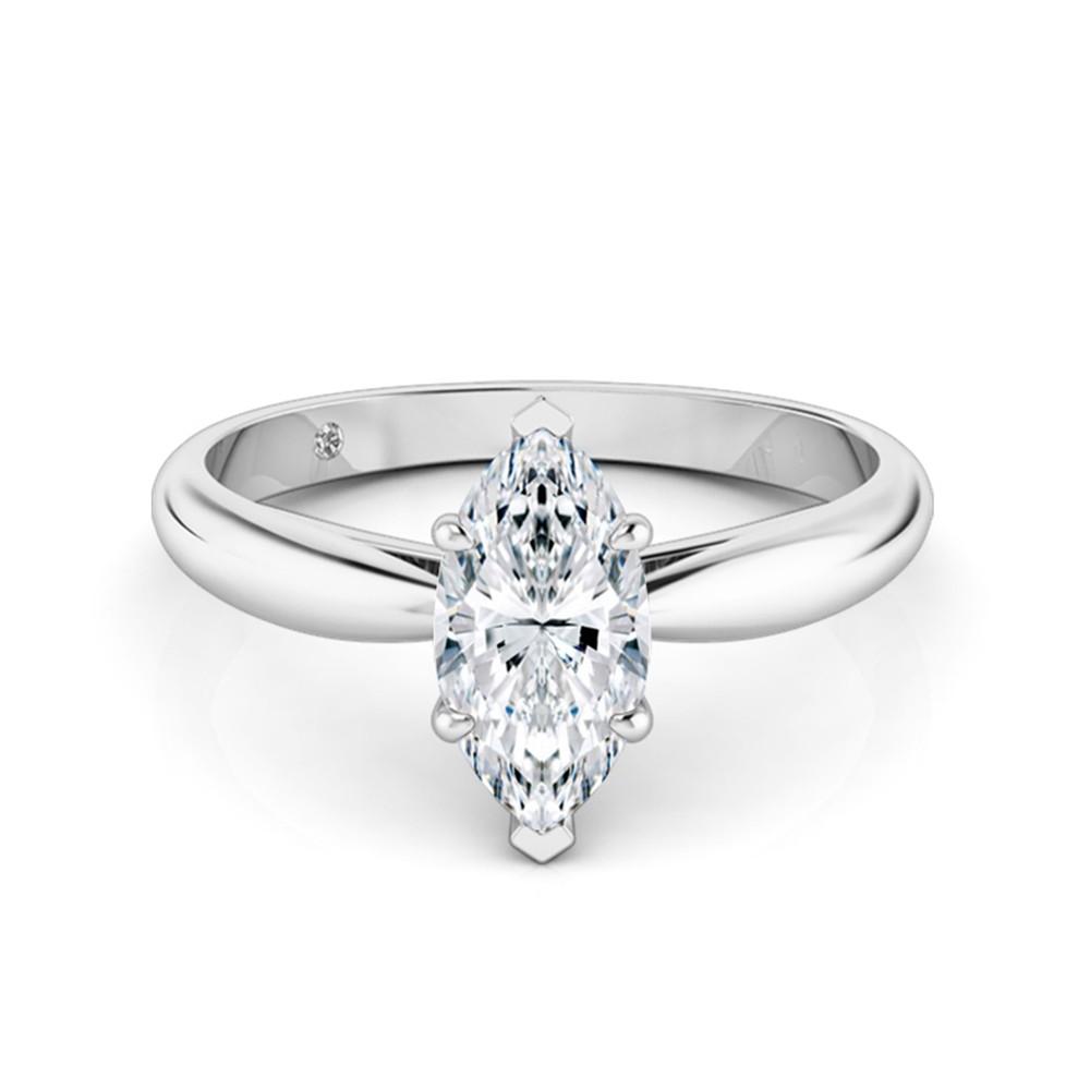 Marquise Cut Solitaire Diamond Engagement Ring Platinum