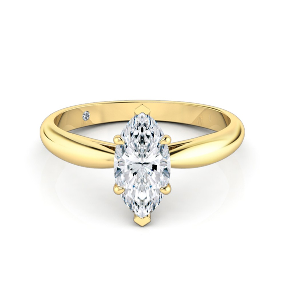 Marquise Cut Solitaire Diamond Engagement Ring 18K Yellow Gold