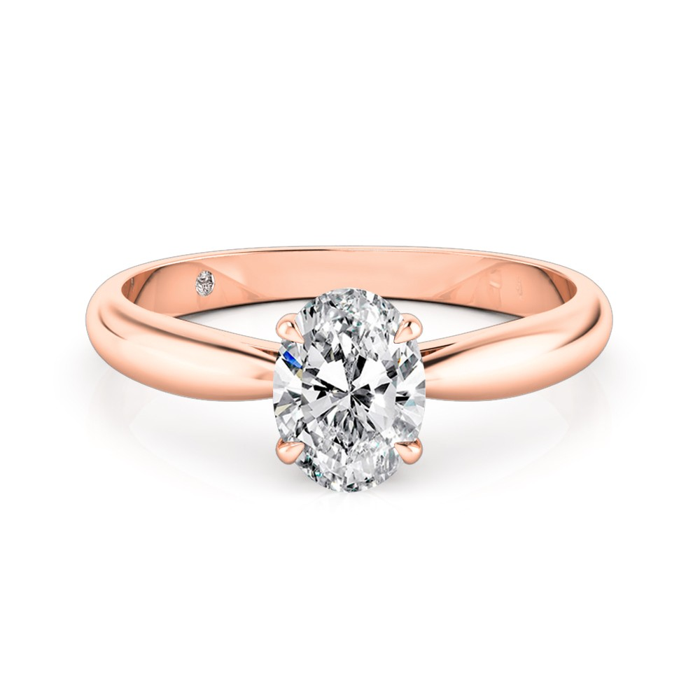 Oval Cut Solitaire Diamond Engagement Ring 18K Rose Gold