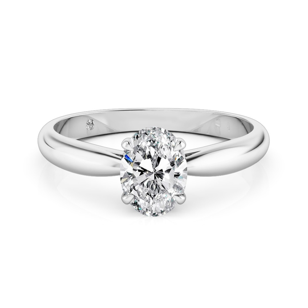 Oval Cut Solitaire Diamond Engagement Ring Platinum