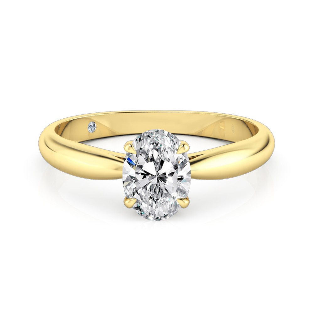 Oval Cut Solitaire Diamond Engagement Ring 18K Yellow Gold