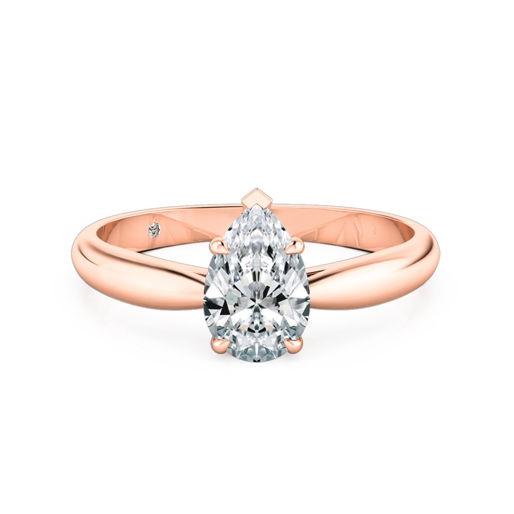 Pear Cut Solitaire Diamond Engagement Ring 18K Rose Gold