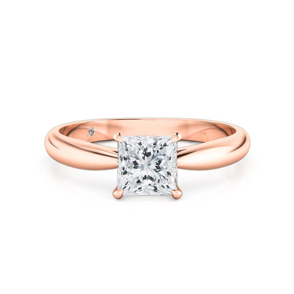 Princess Cut Solitaire Diamond Engagement Ring 18K Rose Gold