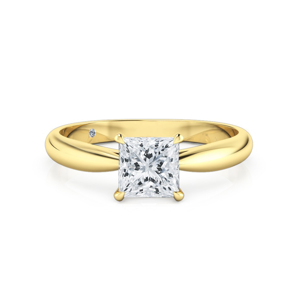 Princess Cut Solitaire Diamond Engagement Ring 18K Yellow Gold