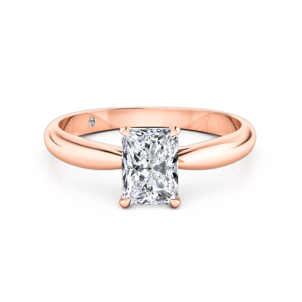 Radiant Cut Solitaire Diamond Engagement Ring 18K Rose Gold
