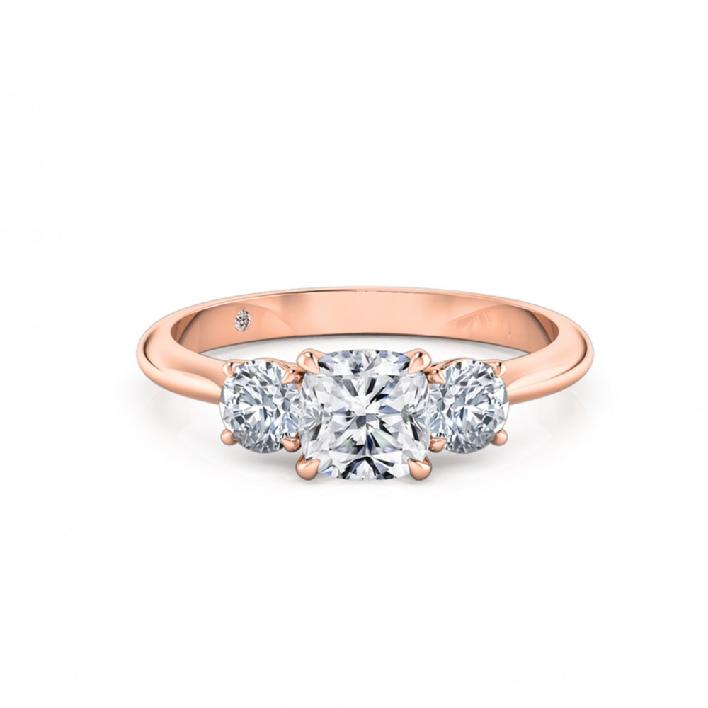 Cushion Cut Trilogy Diamond Engagement Ring 18K Rose Gold