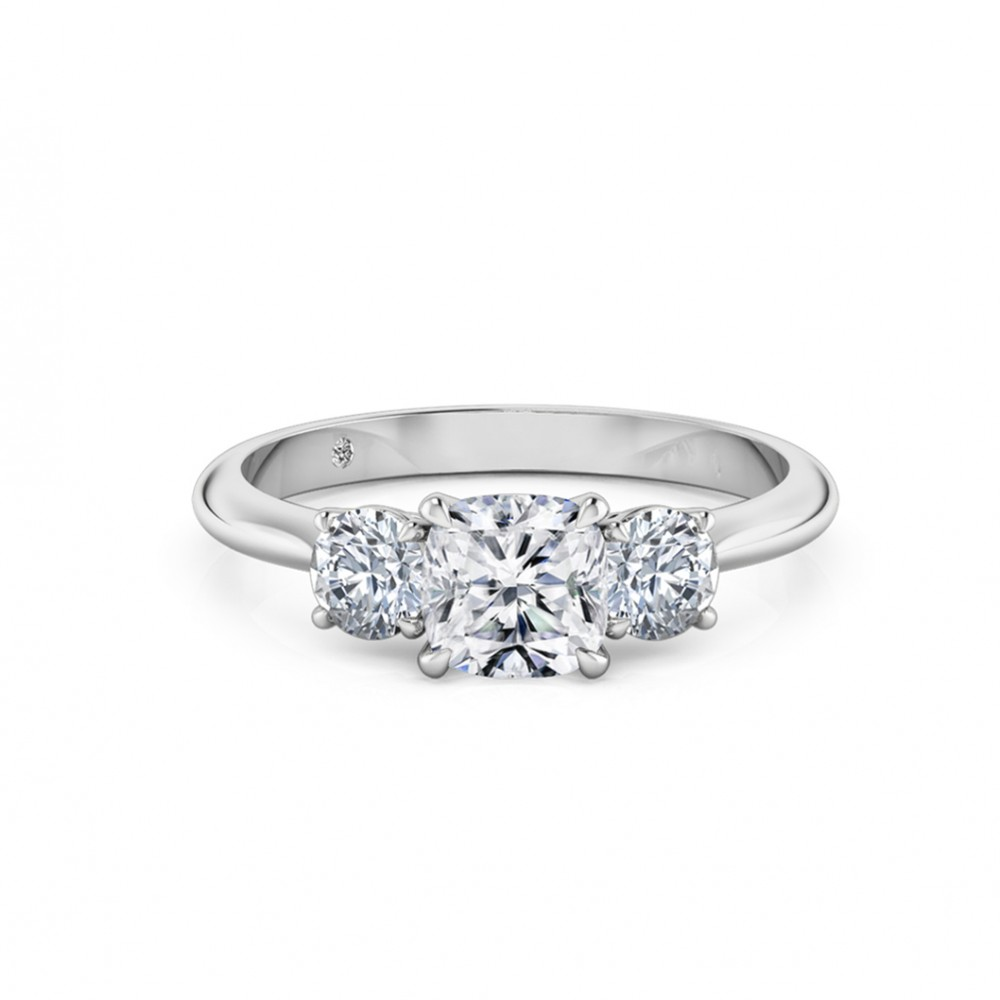 Cushion Cut Trilogy Diamond Engagement Ring 18K White Gold