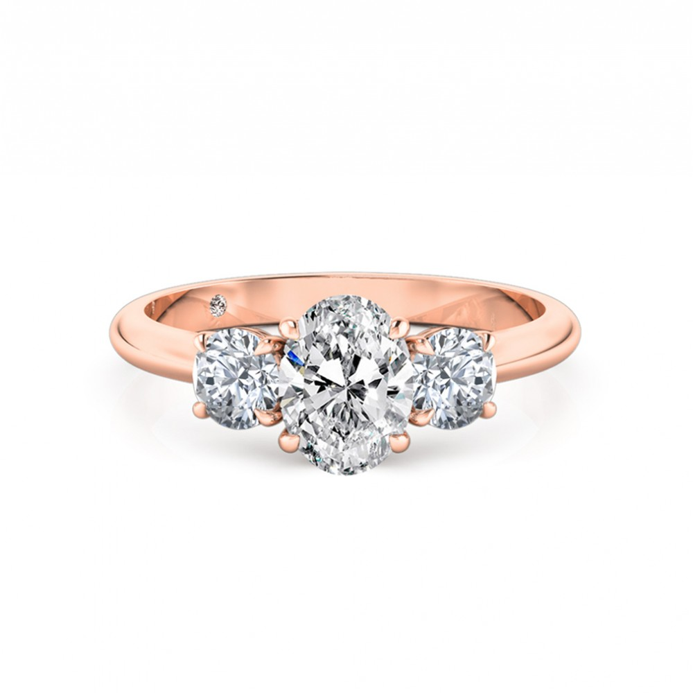 Oval Cut Trilogy Diamond Engagement Ring 18K Rose Gold