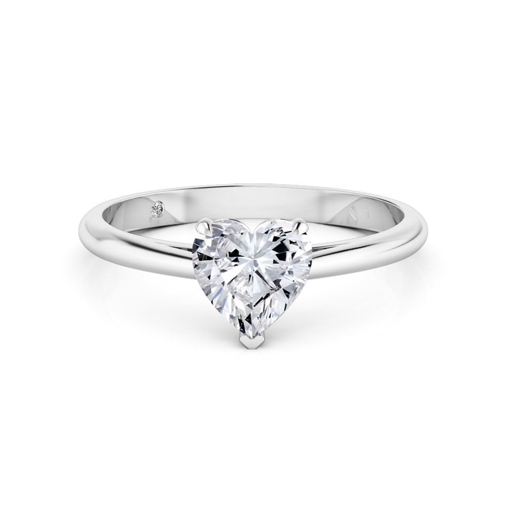 Heart Cut Solitaire Diamond Engagement Ring 18K White Gold