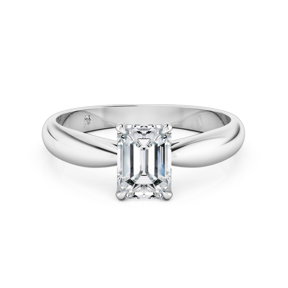 Emerald Cut Solitaire Diamond Engagement Ring 18K White Gold