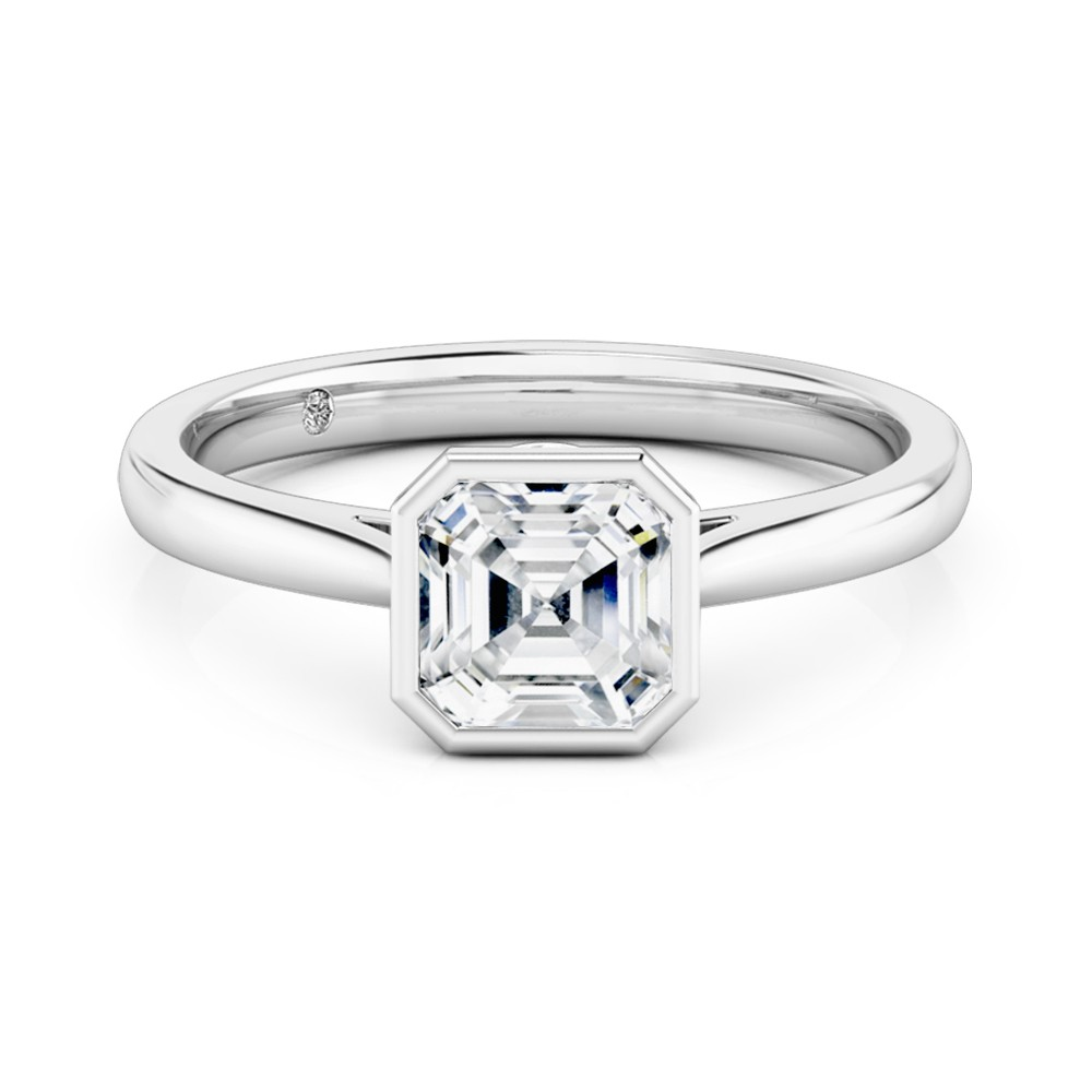 Asscher Cut Solitaire Diamond Engagement Ring 18K White Gold